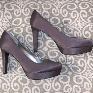 Lulu Townsend Grey Satin Platform Heel